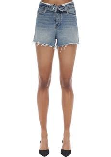 Alexander Wang Folded Raw Cut Cotton Denim Shorts