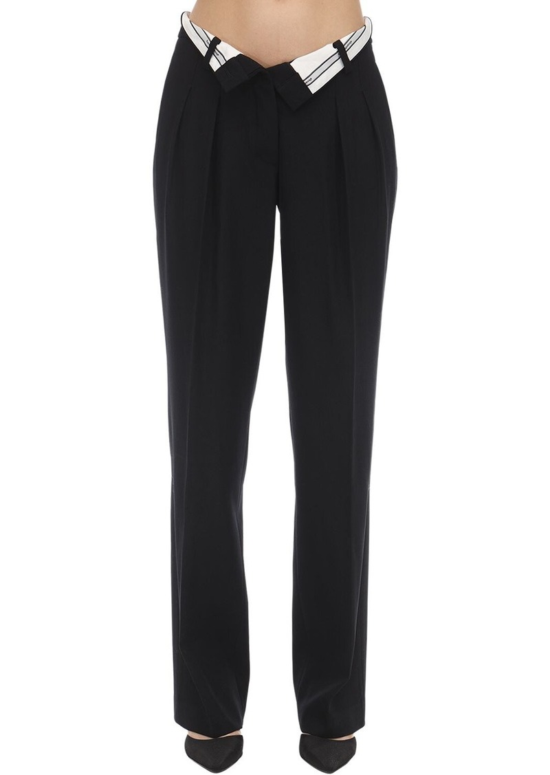 Alexander Wang Foldover Boy Fit Wool Trousers
