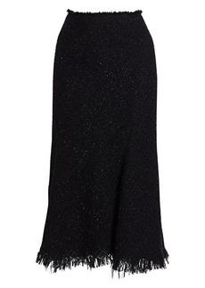 Alexander Wang Frayed Edge Metallic Tweed Midi Skirt