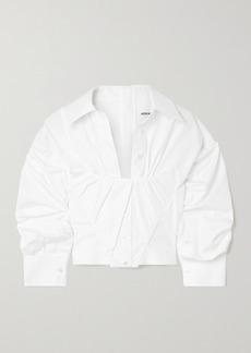 Alexander Wang Gathered Cropped Cotton-poplin Shirt