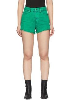 Alexander Wang Green Denim Bite Zip Shorts
