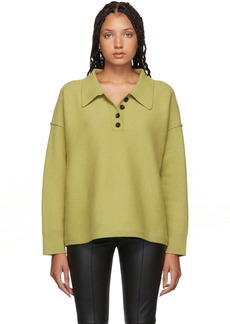 Alexander Wang Green Oversized Leather Button Polo