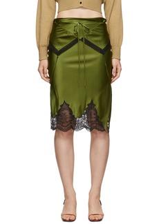 Alexander Wang Green Tie Fold Over Slip Skirt