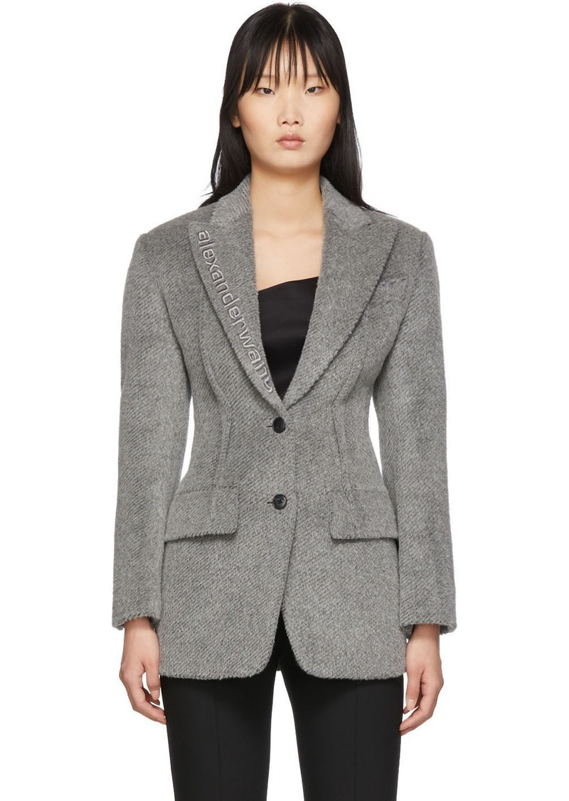 Alexander Wang Grey Alpaca Elongated Blazer