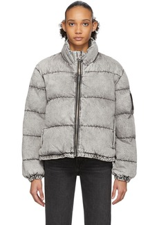 Alexander Wang Grey Bleached Denim Puffer Jacket