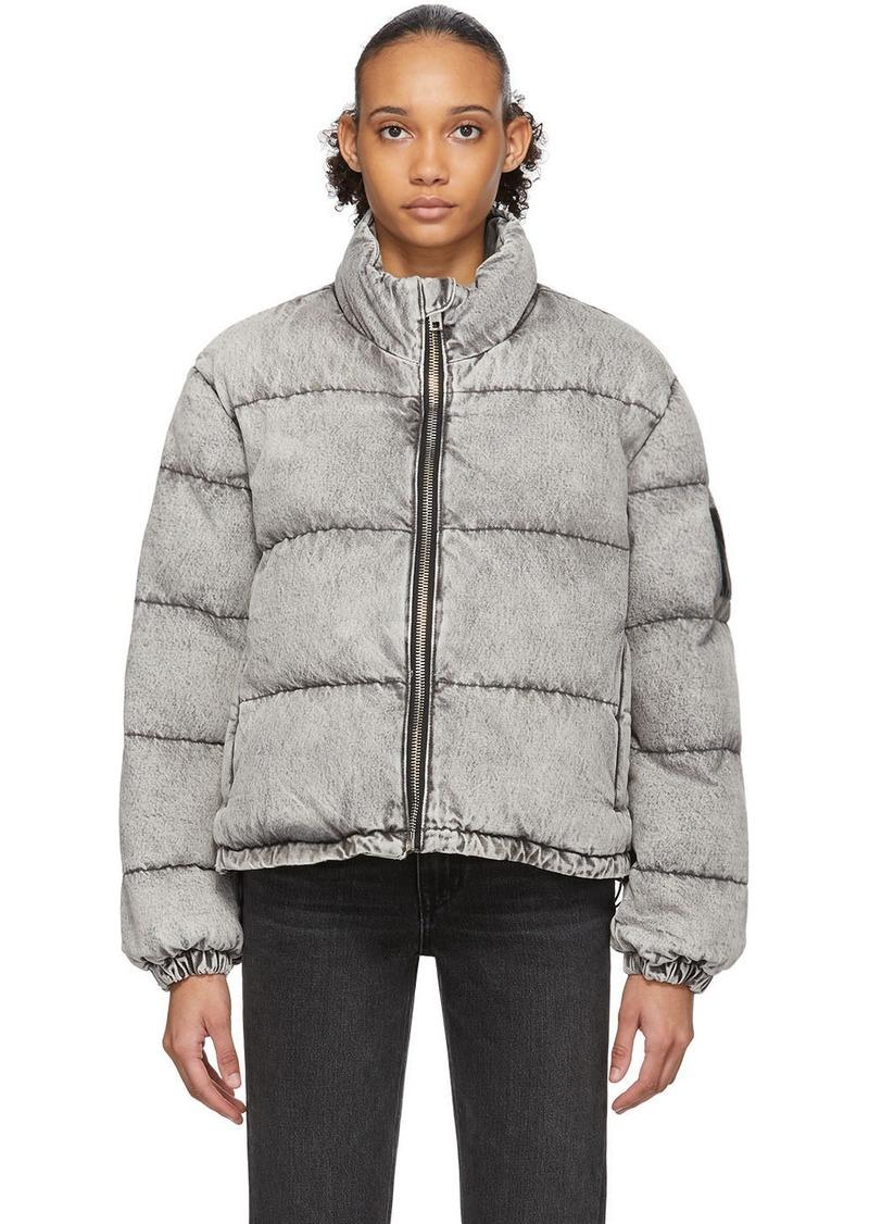 Alexander Wang Grey Bleached Denim Puffer Jacket