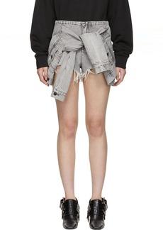 Alexander Wang Grey Denim Jacket Shorts