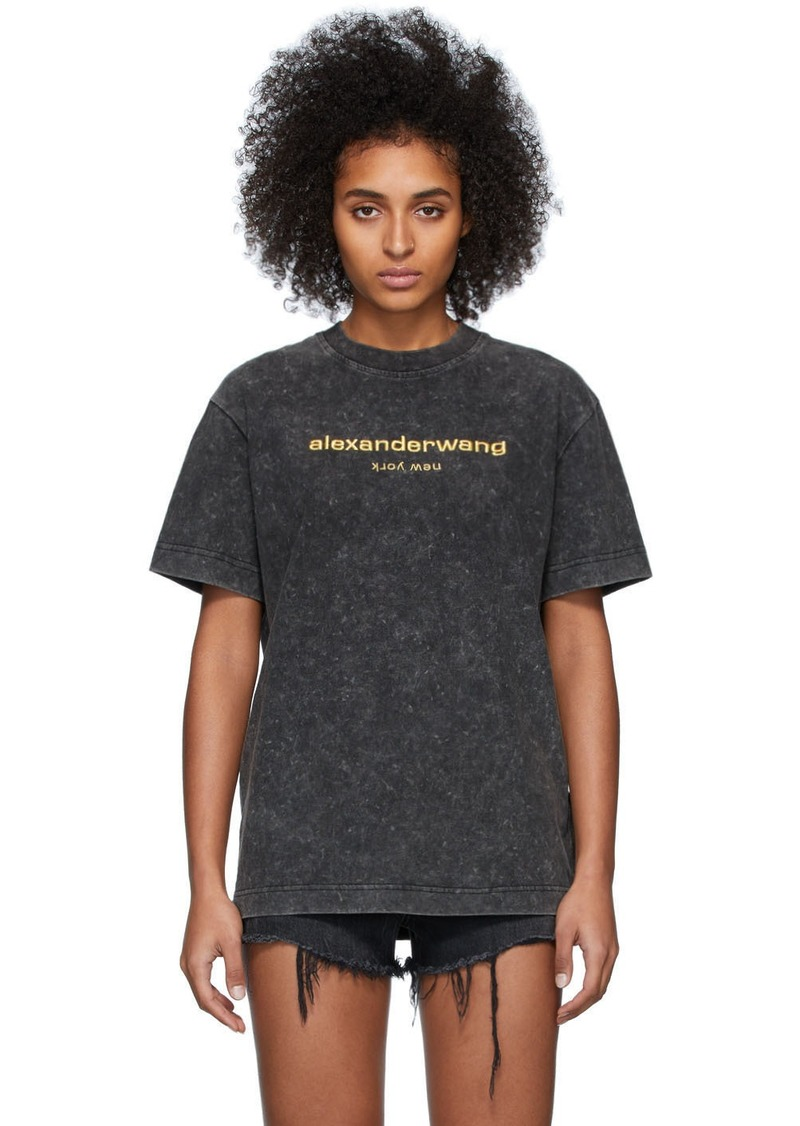 Alexander Wang Grey Embroidered Logo T-Shirt