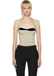 Alexander Wang Grey Ruched Exposed Bra Tank Top