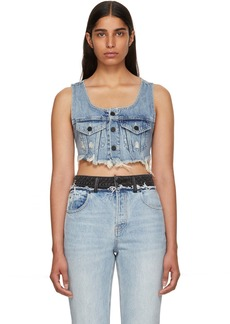 Alexander Wang Indigo Denim Cropped Tank Top