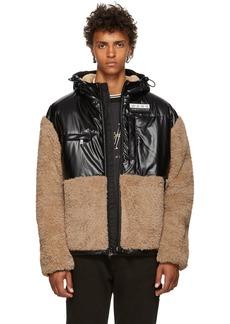Alexander Wang Khaki & Black Coated Sherpa Jacket