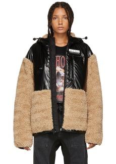 Alexander Wang Khaki & Black Faux Shearling Jacket