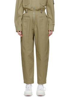 Alexander Wang Khaki High-Waisted Stud Trousers