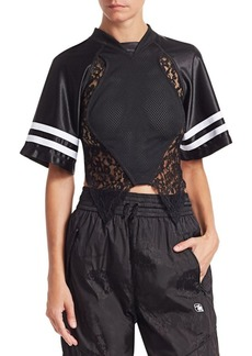 Alexander Wang Lace & Jersey Hybrid Top