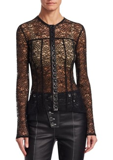 Alexander Wang Lace Snap-Front Blouse