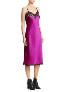 Alexander Wang Lace Trim Silk Slip Dress
