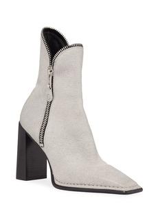 Alexander Wang Lane Block-Heel Leather Zip Booties  White