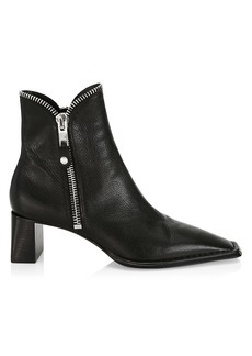 Alexander Wang Lane Square-Toe Zip Leather Ankle Boots