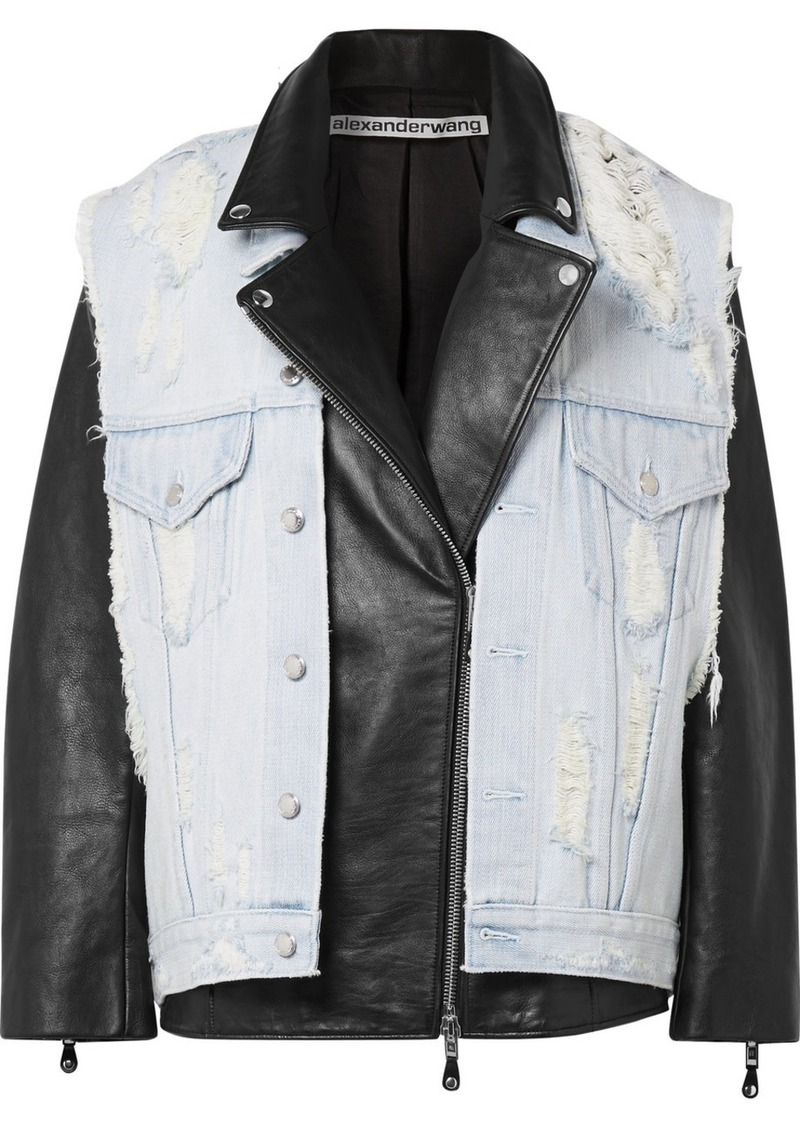 Alexander Wang Layered Distressed Denim And Leather Biker Jacket
