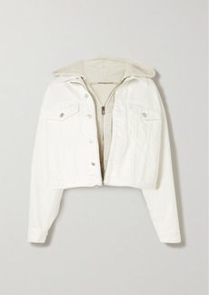 Alexander Wang Layered Embroidered Denim And Cotton-blend Jersey Jacket