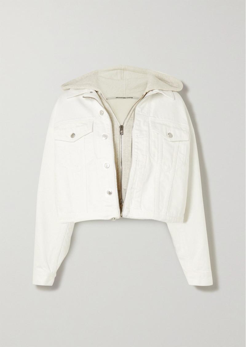 Alexander Wang Layered Embroidered Denim And Cotton-blend Jersey Jacket