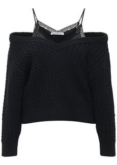 Alexander Wang Layered  Knit Cotton Blend Sweater