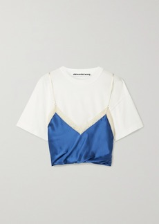 Alexander Wang Layered Lace-trimmed Silk-satin And Cotton-jersey Top
