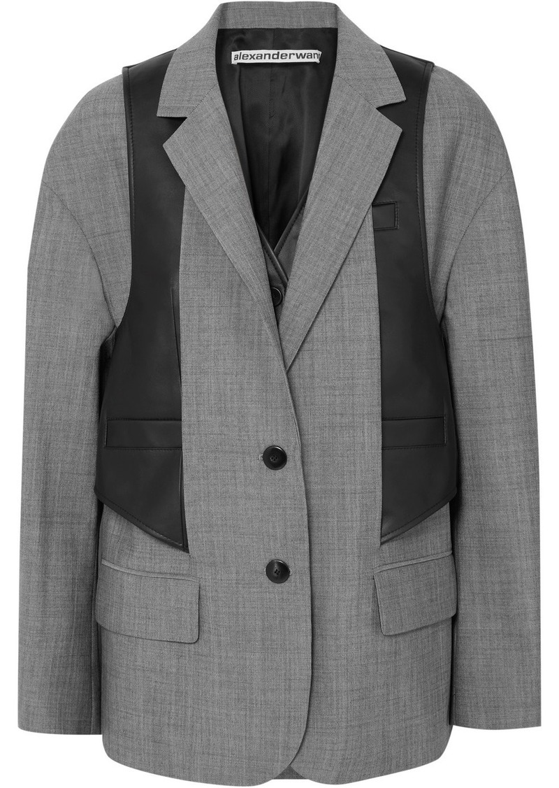 Alexander Wang Layered Wool-blend And Leather Blazer