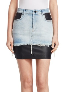 Alexander Wang Leather and Denim Skirt