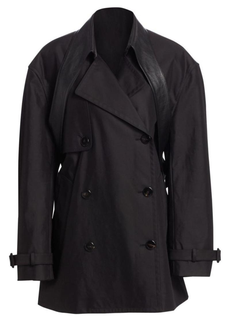 Alexander Wang Leather Belt Collar Cotton-Blend Trench Coat