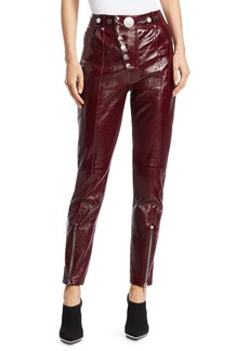 Alexander Wang Leather High-Waist Multi-Button Leggings