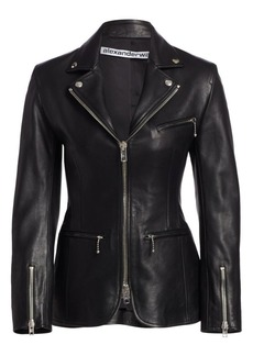 Alexander Wang Leather Moto Zip Jacket