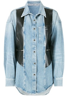 Alexander Wang leather panel denim shirt