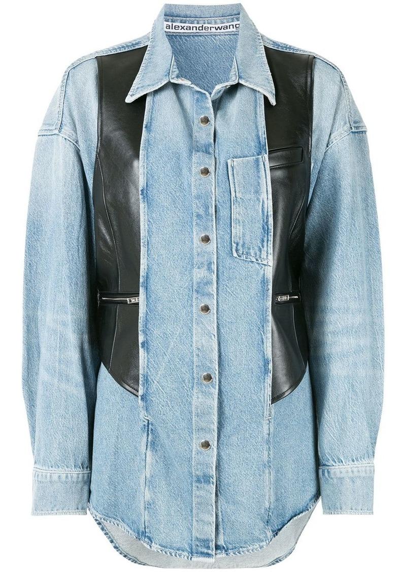 Alexander Wang leather panel denim shirt