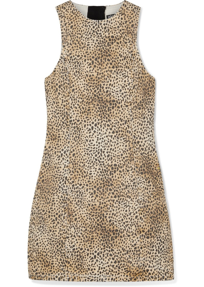 Alexander Wang Leopard-print Denim Mini Dress