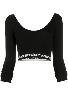 T by Alexander Wang logo cropped top