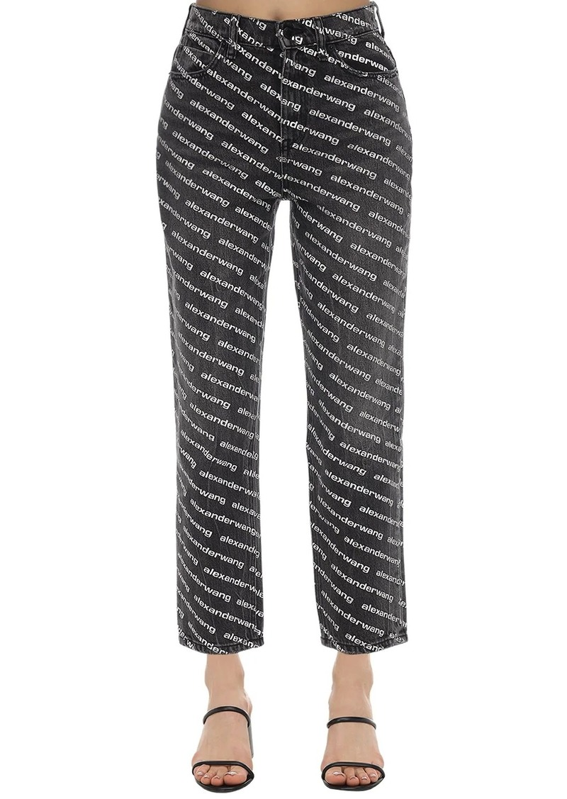 Alexander Wang Logoed Straight Leg Cotton Denim Jeans