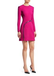 Alexander Wang Long-Sleeve Curve Zipper A-Line Dress