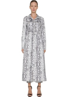 Alexander Wang Long Snake Print Cotton Denim Coat