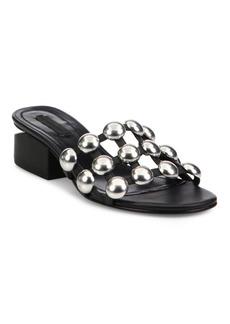 Alexander Wang Lou Tilt-Heel Studded Leather Slides