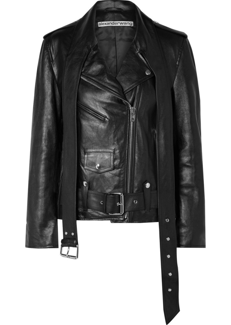Alexander Wang Martingale Belted Leather Jacket
