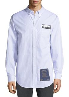 Alexander Wang Men's House Rules-Patch Striped Oxford Pocket Shirt