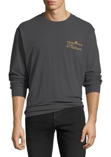 Alexander Wang Men's Rodeo Drive Platinum-Embroidered Long-Sleeve T-Shirt