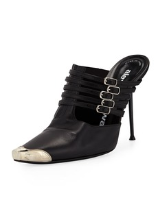Alexander Wang Minna Strappy High-Heel Metal-Toe Mules