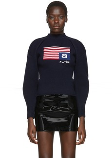 Alexander Wang Navy Wool Volume Flag Turtleneck