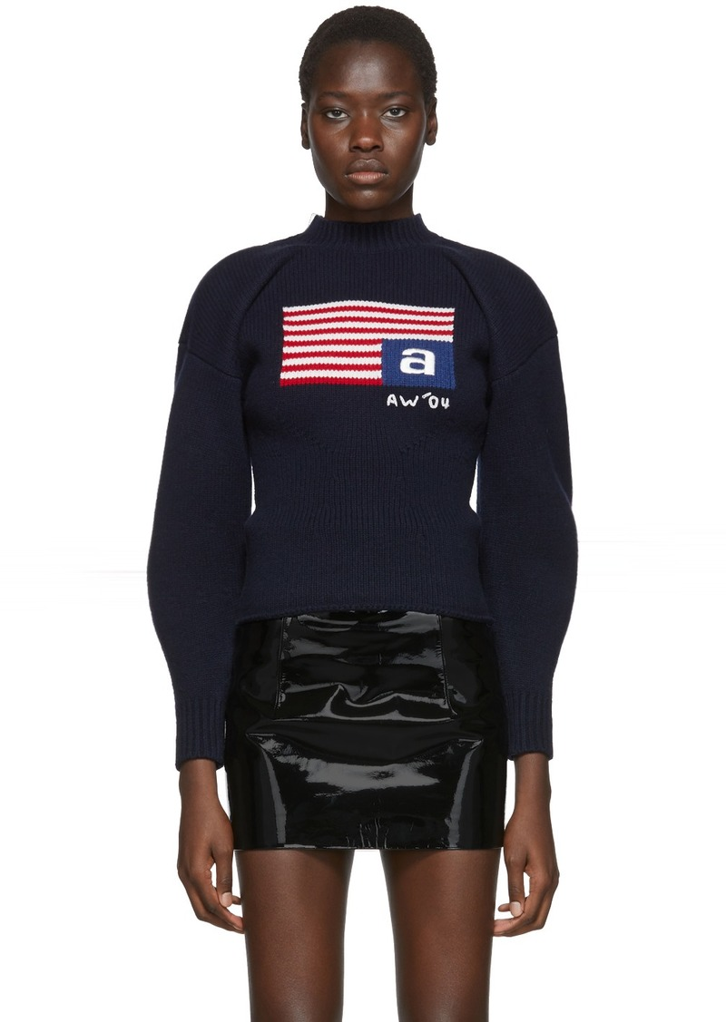Alexander Wang Navy Wool Volume Flag Turtleneck