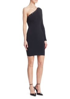 Alexander Wang One-Shoulder Snap-Sleeve Bodycon Dress