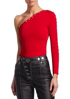 Alexander Wang One-Shoulder Snap-Sleeve Top