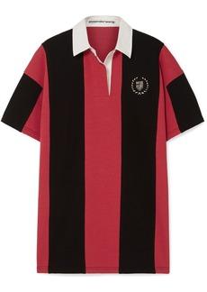 Alexander Wang Oversized Embellished Striped Cotton-jersey Polo Shirt