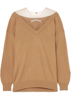 Alexander Wang Oversized Mesh-trimmed Knitted Sweater